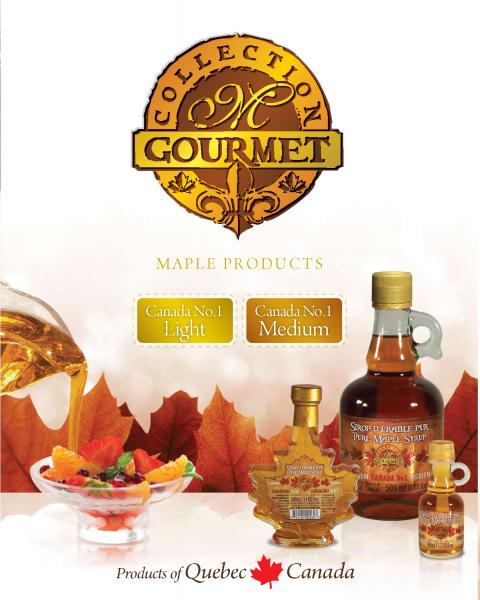 Collection M GOURMET- Sirop d'érable pur du Québec- Canada NO1 CLAIR et Canada NO1 MEDIUM
