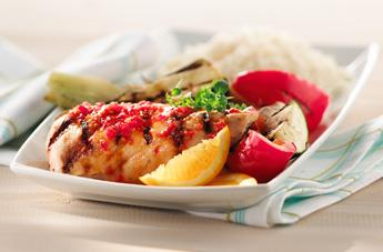 Poitrine de poulet barbecue orange, tomates et érable