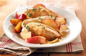 Poulet aux pommes, au parfum d'érable et de thym