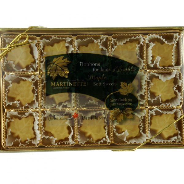 やわらかいピュアメープル飴 - 1箱 15 個入り (1個は100 g)  楓の葉型