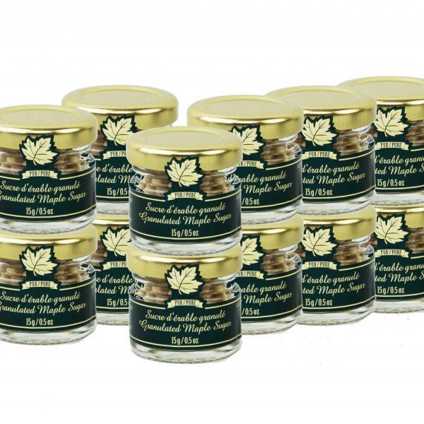 ピュア メープル グラニュー糖  大粒- かわいい壷入り  12個 x 15g