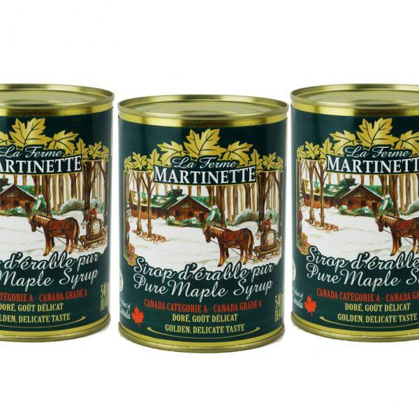 ピュアメープルシロップCANADA A-ゴールデン、繊細な味 3X540ml メタル缶入り