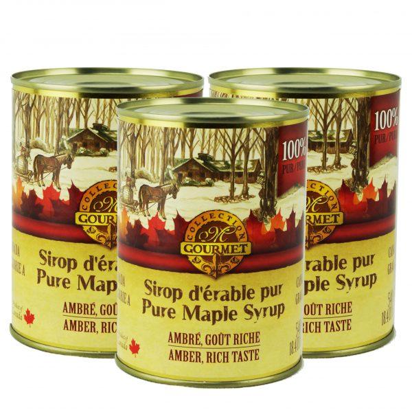 メープルシロップ メタル缶入り、 3x 540ml アンバーは、リッチは、カナダ