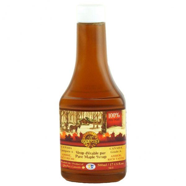 ピュアメープルシロップ500ミリリットル – アンバー、豊かな味わい – スクイーズボトル