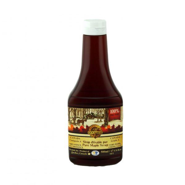 ピュアメープルシロップ500ml-非常に濃い、強い味-絞りやすいボトル