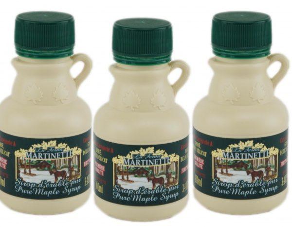 ピュアメープルシロップCANADA A-ゴールデン、繊細な味 – 3.4 fl oz / 100 ml – 3つのプラスチック製ジャグ
