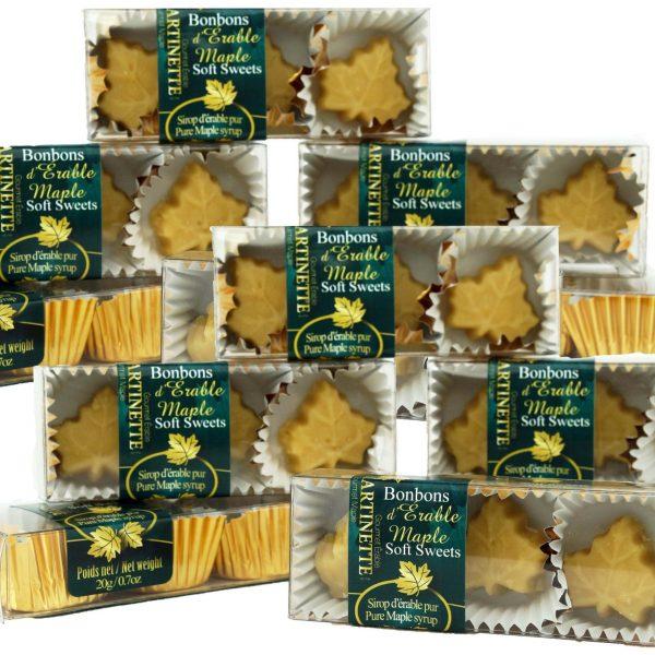 やわらかいピュアメープル飴- 12 箱、 3 個入り、 0.7個 20g -楓の葉型
