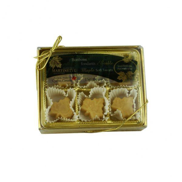 やわらかいピュアメープル飴 - 1箱 6 個入り (1個は40 g)  楓の葉型