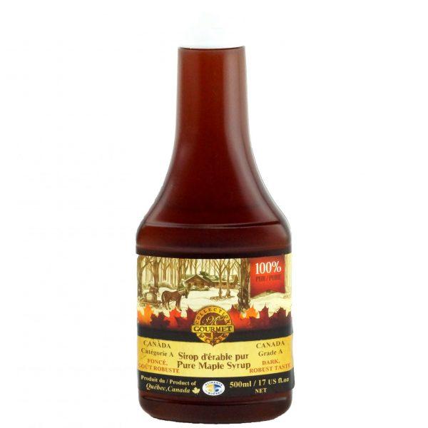 ピュアメープルシロップ500ミリリットル – ディープ、堅牢な味 – スクイーズボトル