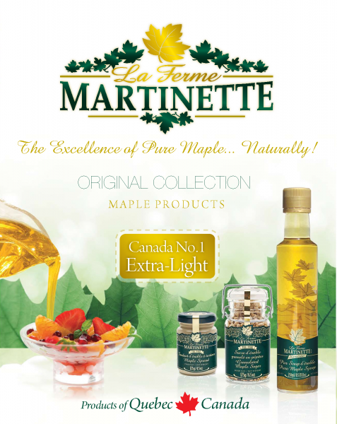 Collection ORIGINALE Martinette- Sirop d'érable pur du Québec- CANADA NO1 EXTRA-CLAIR